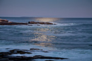 Salt Water Prints - Moonlight at Pemaquid Point Print by Susan Cole Kelly