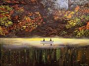 Canoe Painting Posters - Moonlight Canoeing Poster by Connie Tom