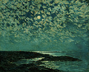 Ocean Inlet Posters - Moonlight Poster by Childe Hassam