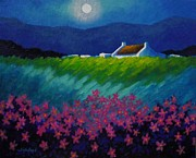 Ireland Painting Posters - Moonlight County Wicklow Poster by John  Nolan