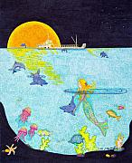 Sea Moon Full Moon Drawings Prints - Moonlight Crossing 2 Print by Judy Cheryl Newcomb