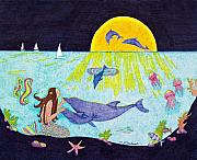 Sea Moon Full Moon Drawings Prints - Moonlight Crossing 3 Print by Judy Cheryl Newcomb
