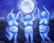 Sea Moon Full Moon Prints - Moonlight Dancers Print by Carol Brown
