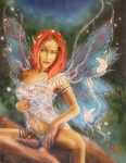 Airbrush Prints - Moonlight Faerie Print by Crispin  Delgado