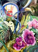 Orchids Drawings - Moonlight Fantasy by Mindy Newman