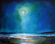 Moonlight Beach Posters - Moonlight Flyby Poster by Toni Grote