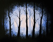 Edwin Alverio Prints - Moonlight Forest Print by Edwin Alverio