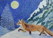 Fox Pastels Prints - Moonlight Hunt Print by Lorraine McFarland