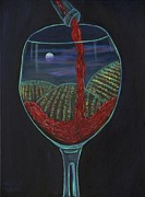 Pouring Wine Painting Framed Prints - Moonlight In a Wine Glass Framed Print by Mikki Alhart