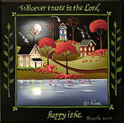 Religious Art Painting Posters - Moonlight in Cottage Grove Poster by Catherine Holman