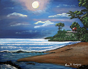 Puerto Rico Paintings - Moonlight In Rincon by Luis F Rodriguez