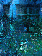 Manipulated Photography Framed Prints - Moonlight in the Garden Framed Print by Ann Powell