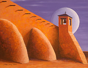 Bell Tower Paintings - Moonlight Isleta by Jerry McElroy