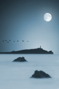 Cornwall Digital Art Prints - Moonlight Print by Jaroslaw Grudzinski