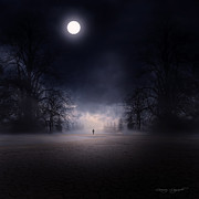 Gloomy Metal Prints - Moonlight Journey Metal Print by Lourry Legarde