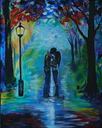 Couples Painting Prints - Moonlight Kiss Print by Leslie Allen