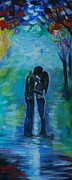 Lighted Pathway Prints - Moonlight Kiss Series 1 Print by Leslie Allen