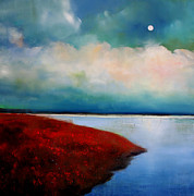 Surreal Landscape Painting Metal Prints - Moonlight Lake Metal Print by Toni Grote