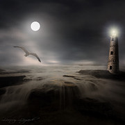 Flying Seagull Posters - Moonlight Lighthouse Poster by Lourry Legarde