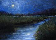 Reflection Pastels Prints - Moonlight Marsh Print by Susan Jenkins