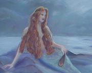Misty. Pastels Posters - Moonlight Mermaid Poster by Julie Brugh Riffey