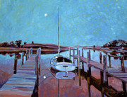 Boat Docks Framed Prints - Moonlight on the Bay Framed Print by David Lloyd Glover