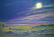 Shoreline Pastels Posters - Moonlight on the Dunes Poster by Addie Hocynec