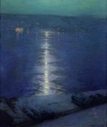 Moonlit Night Paintings - Moonlight on the River by Lowell Birge Harrison