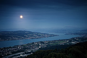 Zurich Prints - Moonlight Over Lake Print by Tobias Gaulke