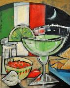 Margarita Paintings - Moonlight over Margaritaville by Tim Nyberg