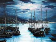 Moonlight Painting Prints - Moonlight Over Port Of Spain Print by Karin Best
