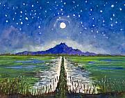 Dolores Paintings - Moonlight Over Rice Fields by Dolores Mitchell