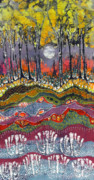 Dark Tapestries - Textiles Posters - Moonlight Over Spring Poster by Carol  Law Conklin