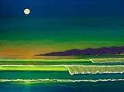 Santa Monica Paintings - Moonlight Over Venice Beach by Frank Strasser