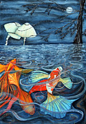 Koi In Water Prints - Moonlight Rendezvous Print by Lesley Smitheringale