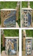 Outdoor Ceramics - Moonlight Reverie Stoneware Garden Seat by Joyce Jackson