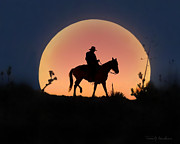 Ranch Digital Art Posters - Moonlight Ride Poster by Terril Heilman