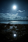 Nautical Vessel Framed Prints - Moonlight Framed Print by Rodell Ibona Basalo