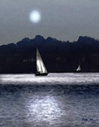 Motif 1 Posters - Moonlight Sail Poster by Dale   Ford