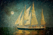 Sailboat Ocean Mixed Media Posters - Moonlight Sail Poster by Michael Petrizzo