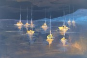 Moonlight Paintings - Moonlight Sailing by Julie Lueders