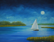 South Carolina Low Country Marsh Paintings - Moonlight Sailing by Stanton D Allaben