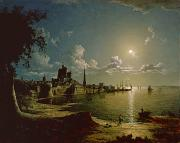 City By Water Prints - Moonlight Scene Print by Sebastian Pether