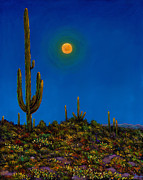 Giclee Cactus Framed Prints - Moonlight Serenade Framed Print by Johnathan Harris