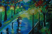 Couples Embracing Originals - Moonlight Stroll Series 1 by Leslie Allen