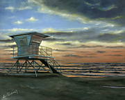 Beach Sunset Paintings - Moonlight Sunset by Lisa Reinhardt