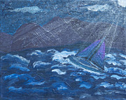 Silver Moonlight Paintings - Moonlight Surge 1 by Angella Kingston