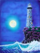 Sea Moon Full Moon Painting Metal Prints - Moonlight Vigil Metal Print by Angie Hamlin