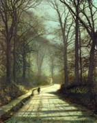 Road Painting Framed Prints - Moonlight Walk Framed Print by John Atkinson Grimshaw