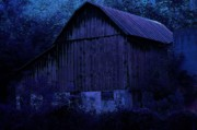 Moonlight Posters - Moonlit Barn Poster by The Stone Age